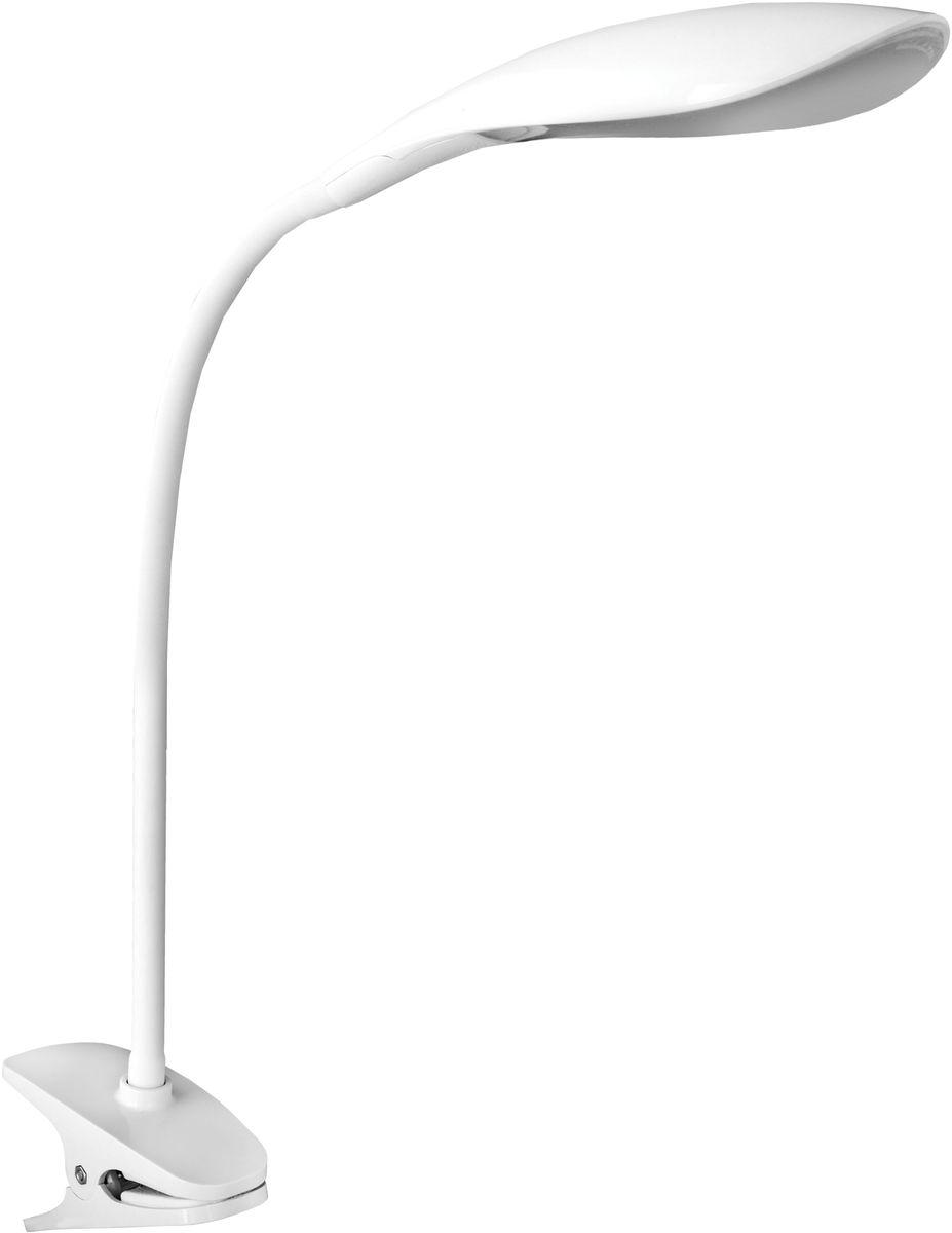 Светильник настольный Camelion, светодиодный, на прищепке, цвет: белый, 5 Вт, 230 В, 6000 К. KD-776 C0112724Светодиодный светильник Camelion - превосходное и современное решение для офиса и дома, лаконичный стильный дизайн. Изделие выполнено в классическом дизайне, крепится на прищепку.Характеристики:Вид ламп: светодиодная.Направление света регулируется гибкой стойкой, которая обеспечивает наклон и поворот плафона в любом направлении.