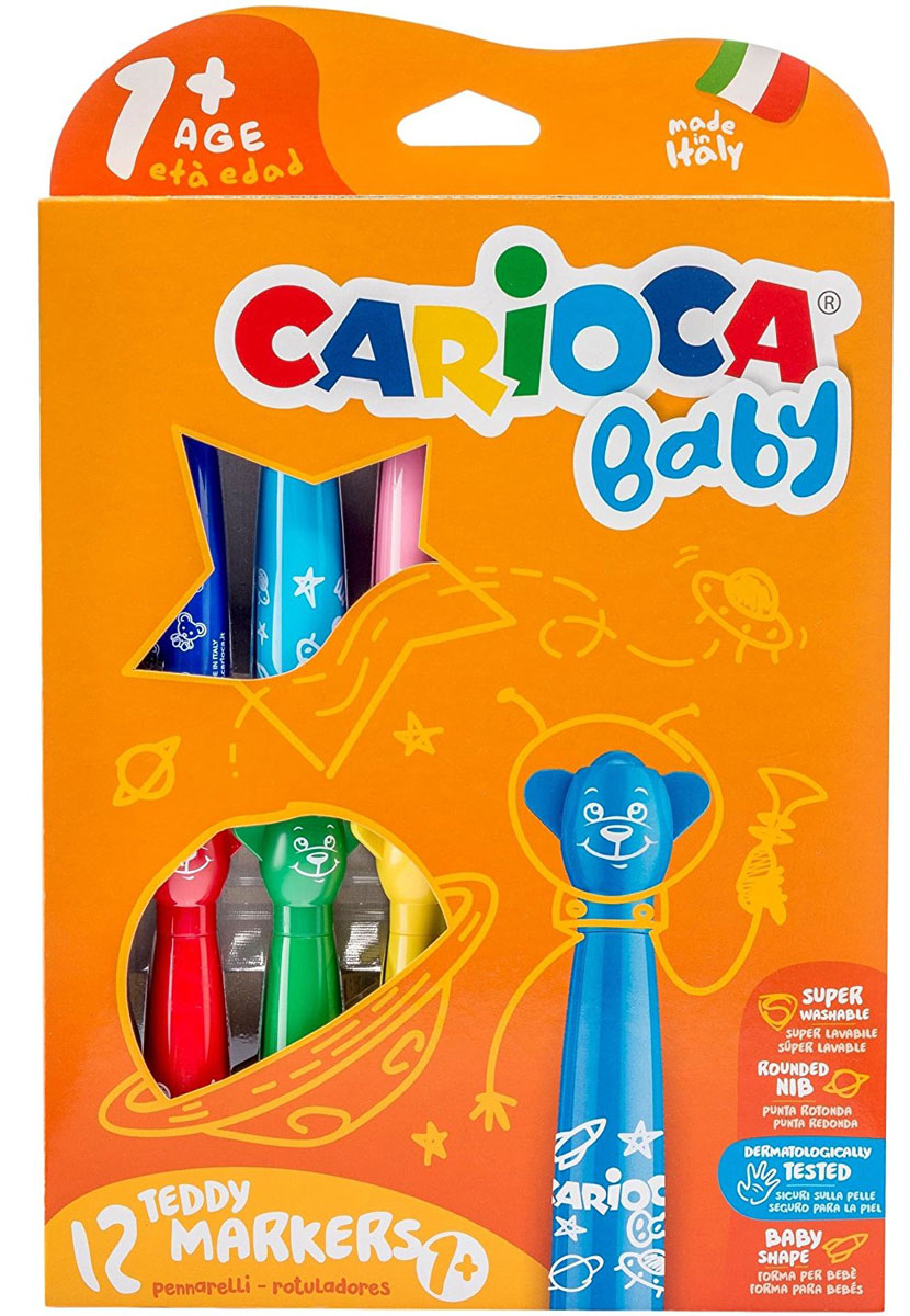 Carioca Набор смываемых фломастеров Baby 12 цветов42816_12 цветовНабор смываемых фломастеров Carioca Baby на водной основе, прекрасно смываются с кожи и с большинства тканей. Чернила не токсичны и безопасны для ребенка. Фломастеры имеют утолщенный корпус, поэтому удобны для маленькой ручки. Вентилируемые колпачки выполнены в виде забавных улыбающихся мордочек, которые обязательно понравятся малышу, и он с удовольствием будет творить.