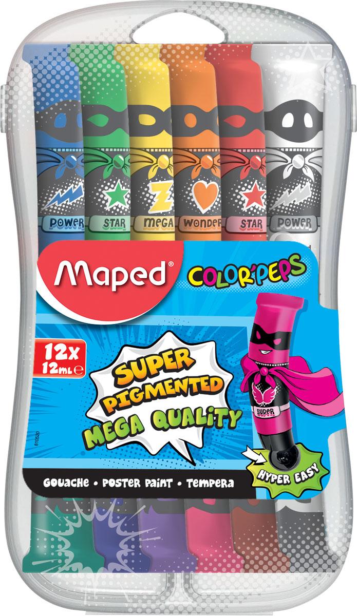 Maped Гуашь ColorpepS 12 цветов 810520810520Гуашь, 12 цветов в алюминиевых тюбикахМини-размер12 тюбиков объемом по 12 млНебьющийся пластиковый бокс-пенал