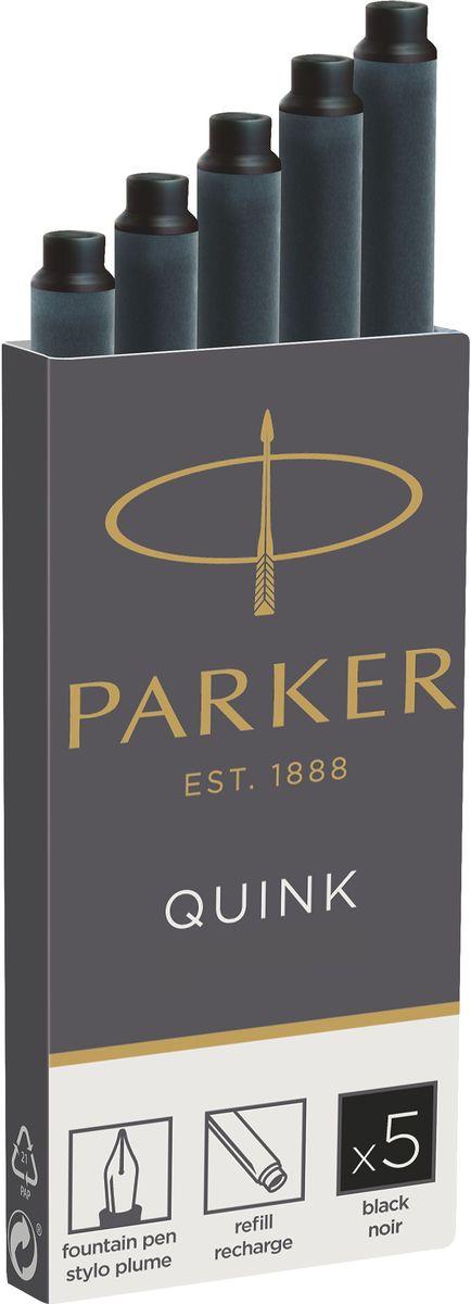 Parker Картридж с чернилами для перьевой ручки QUINK LONG цвет черный 5 шт картридж для перьевой ручки parker z11 неводостойкие чернила blue 5шт s0116210