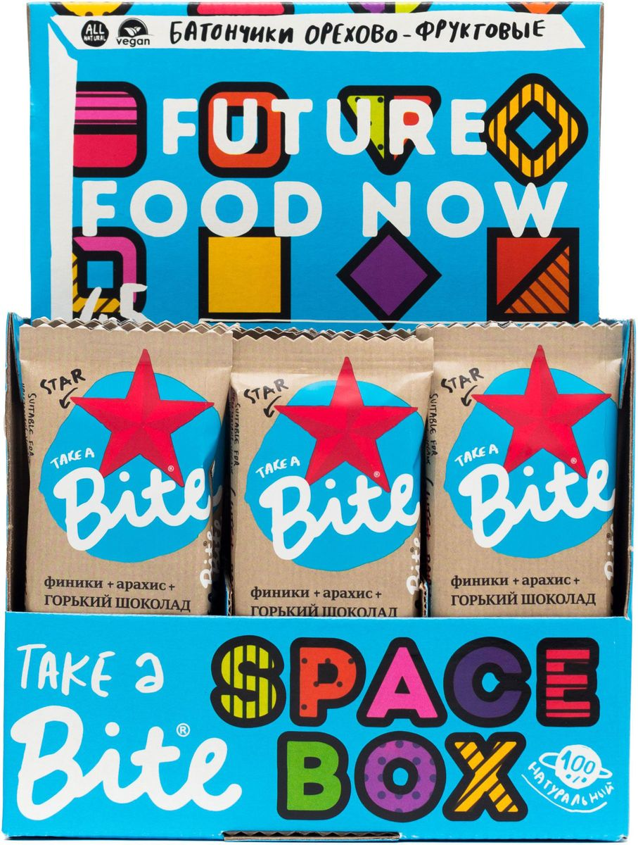 Take A Bite Шоколад-Мускатный орех Star батончик фруктово-ореховый, 20 шт по 45 г00000000573Для тех, кто не боится менять стереотипы. Для сильных духом со здоровым телом. Будь мечтой, будь сильным вместе со Star Bite.