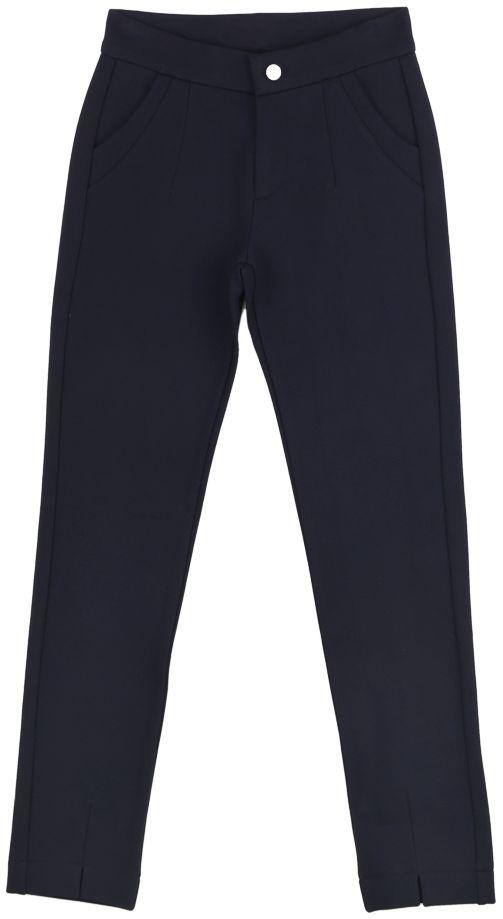 Брюки для девочки Vitacci, цвет: синий. 2171219F-04. Размер 1342171219F-04Классические утепленные брюки стрейч Vitacci выполнены из вискозы и нейлона с добавлением эластана. Модель застегивается на гульфик с молнией и пуговицу. Спереди расположены два втачных кармана.