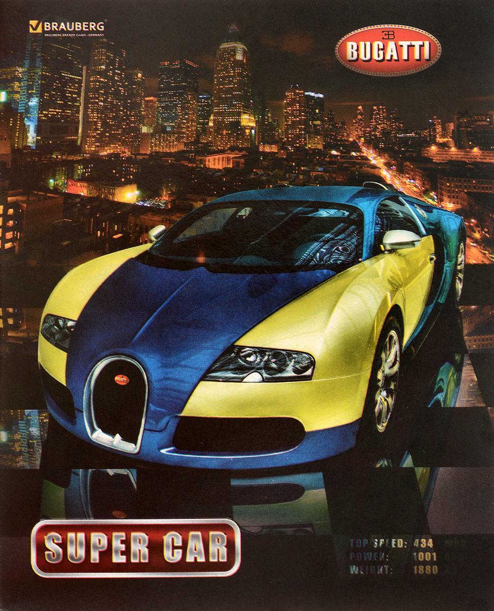 Brauberg Тетрадь Авто Bugatti 48 листов в клетку401282_bugattiТетрадь Brauberg Авто Bugatti подойдет как школьнику, так и студенту. Обложка тетради выполнена из плотного картона, что позволит сохранить ее в аккуратном состоянии на протяжении всего времени использования.Внутренний блок тетради, соединенный двумя металлическими скрепками, состоит из 48 листов белой бумаги. Стандартная линовка в клетку голубого цвета дополнена полями.