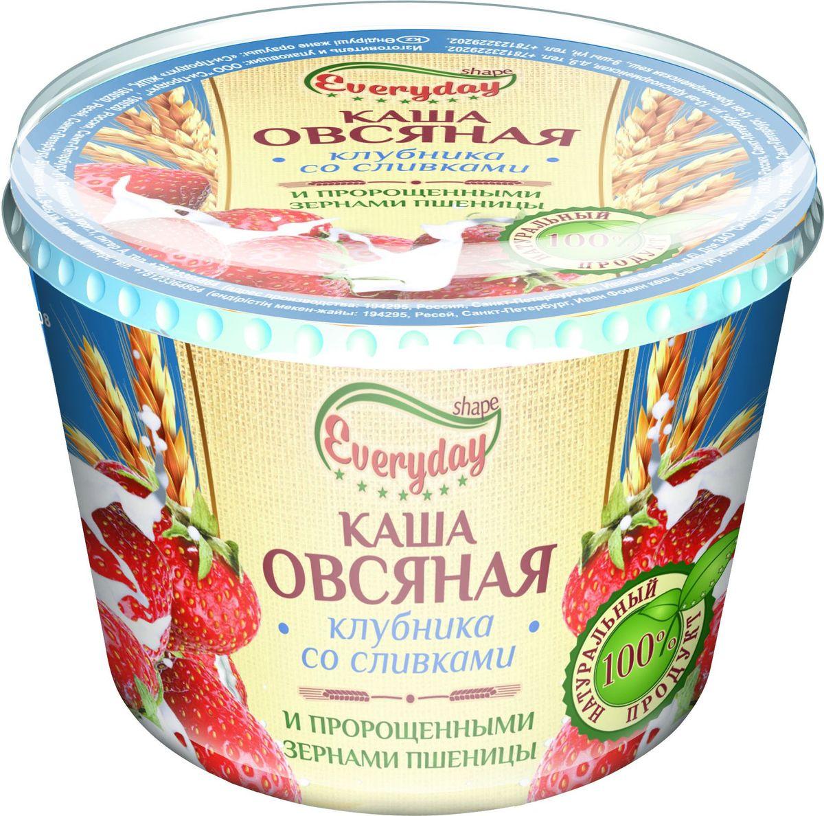 Everyday Каша овсяная клубника со сливками, 43 г пророщенная соя где в омске