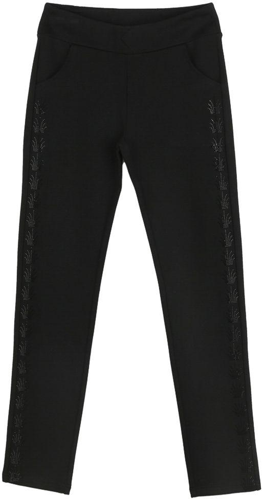 Брюки для девочки Vitacci, цвет: черный. 2171231-03. Размер 1522171231-03Классические брюки стрейч для девочки выполнены из вискозы и нейлона с добавлением эластана. Пояс снабжен широкой эластичной резинкой, которая обеспечивает комфортную посадку. Спереди расположены два втачных кармана. Вдоль бокового шва модель дополнена узорами из страз.
