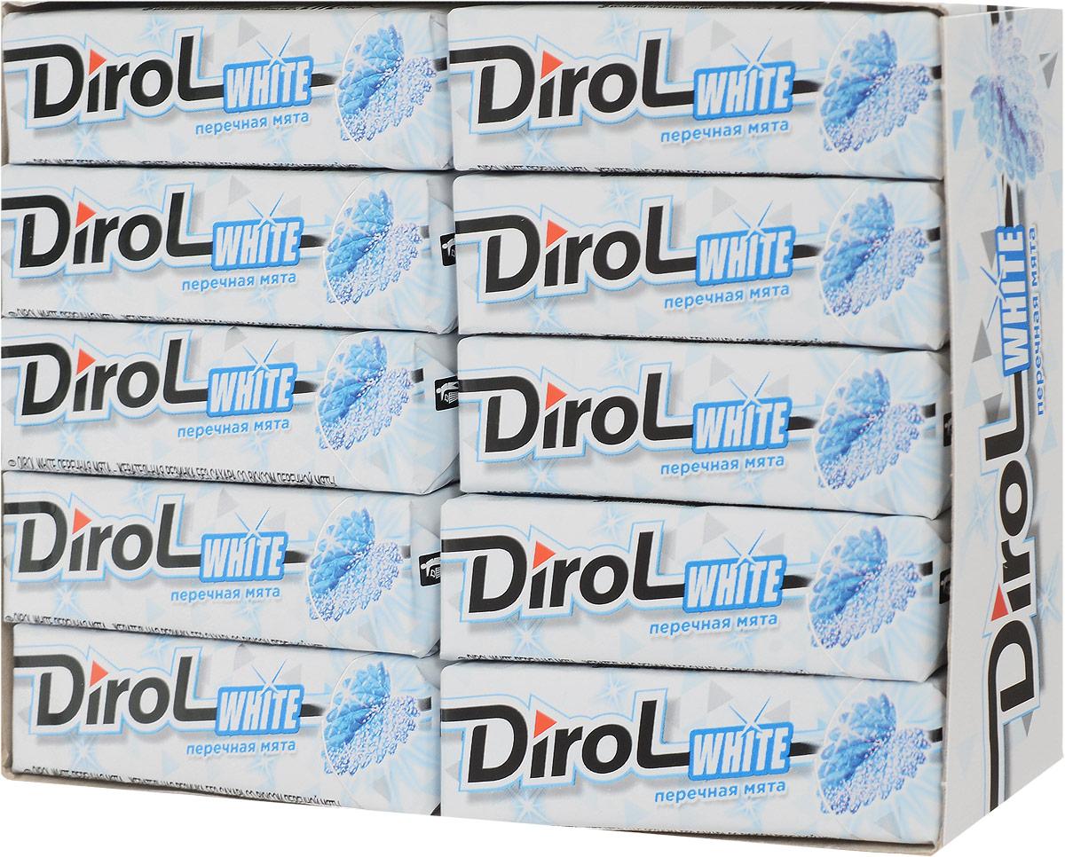 Dirol White Жевательная резинка Перечная мята без сахара 30 пачек по 13,6 г жевательная резинка dirol сладкая мята без сахара