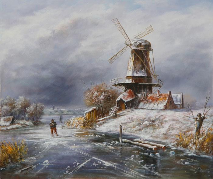 Картина Зимний пейзаж с фигуристами возле ветряной мельницы. Холст, масло. 50х60 смАРТ 0808Авторская живопись маслом на холсте. Размер 60 х 50 см.На подрамнике.Наумов Вячеслав - современный художник, автор любит творчество малых голландцев и делает современные интерпретации старых голландских мастеров. Картина продается без рамы, холст натянут на профессиональный (модульный) подрамник. Советы по оформлению картин в багет: Рама и картина должны взаимно дополнять друг друга и не должны соперничать между собой. При оформлении всегда доминирует картина, а раме отводится лишь роль связующего звена между картиной и интерьером. Багет должен сочетаться с картиной по цветовой гамме. Учитывайте глубину багета - если вы не хотите, чтобы был виден подрамник, на который натянута картина, то необходимо выбрать багет с глубиной от 1,5 см. Не бойтесь экспериментировать, используйте составную раму из двух и более разных профилей багета.Все багетные профили в составной раме должны быть разной ширины!