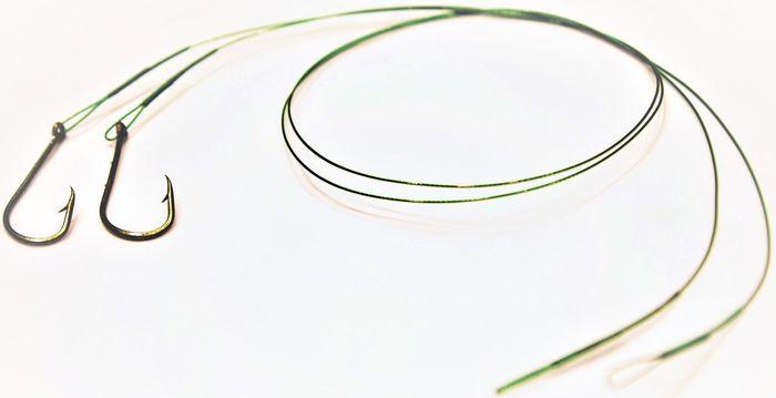Набор поводков Atemi, с крючком №4, цвет: зеленый, 2 шт. 605-20404