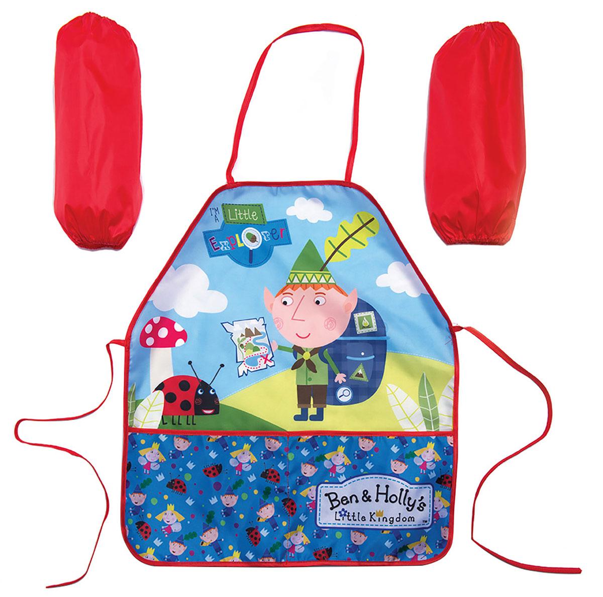 Ben&Holly Фартук детский с нарукавниками Бен и Холли цвет голубой красный -  Аксессуары для труда
