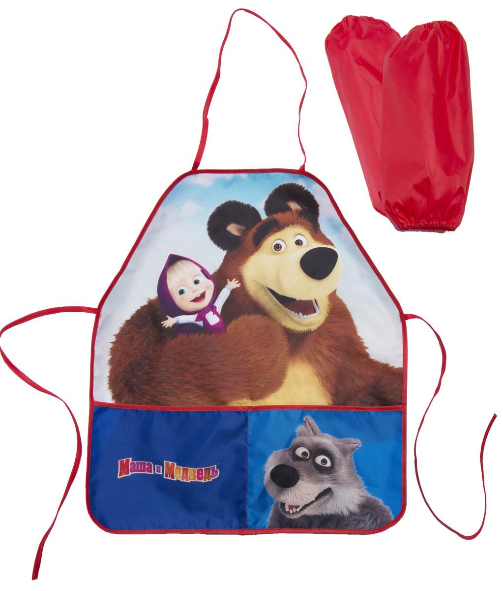Маша и Медведь Фартук детский с нарукавниками цвет синий красный -  Аксессуары для труда
