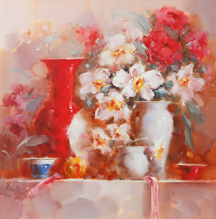 Картина Натюрморт с цветами и посудой. Холст, масло. 75х75 см
