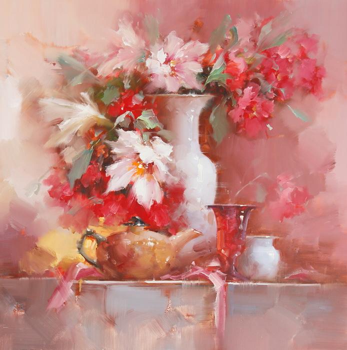 Картина Натюрморт с чайником. Холст, масло. 75х75 см