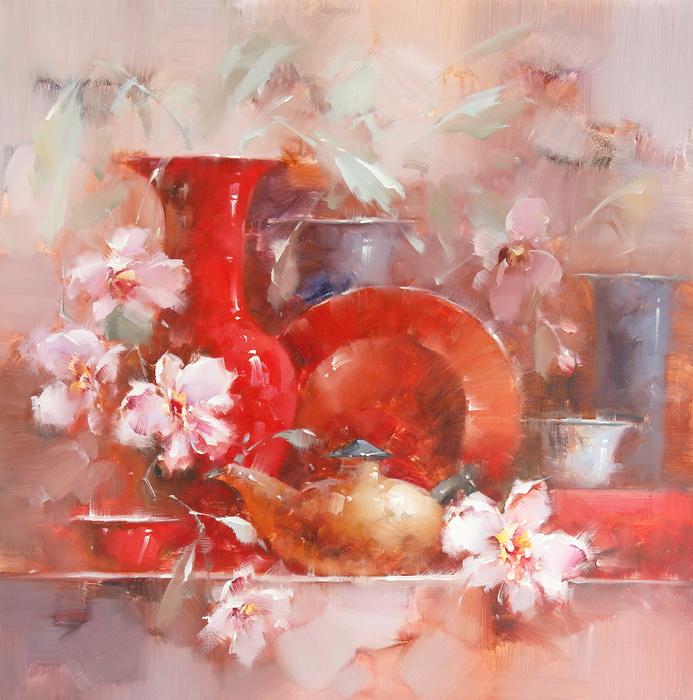 Картина Натюрморт с посудой.. Холст, масло. 75х75 см