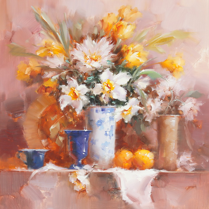 Картина Весенний натюрморт. Холст, масло. 75х75 см