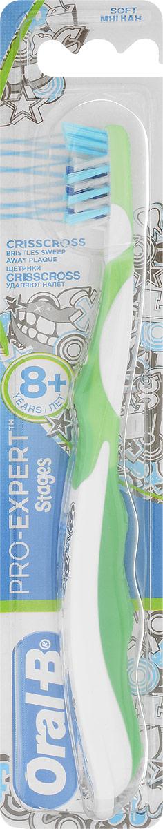 Oral-B Детская зубная щетка Pro-Expert Stages от 8 лет мягкая цвет салатовый3014260278342_салатовыйДетская зубная щетка Oral-B Pro-Expert разработана для детей старше 8 лет, у которых происходит смена молочных зубов.Преимущества зубной щетки: головка с мягким покрытием, чтобы помочь защитить нежные десны ребенка; перекрещивающиеся щетинки Crisscross, которые помогают удалять налет в труднодоступных местах между зубами; поверхность для чистки языка, предназначена для свежего дыхания и уверенной улыбки; эргономичная ручка, которую удобно держать, помогает ребенку чистить зубы.Товар сертифицирован.