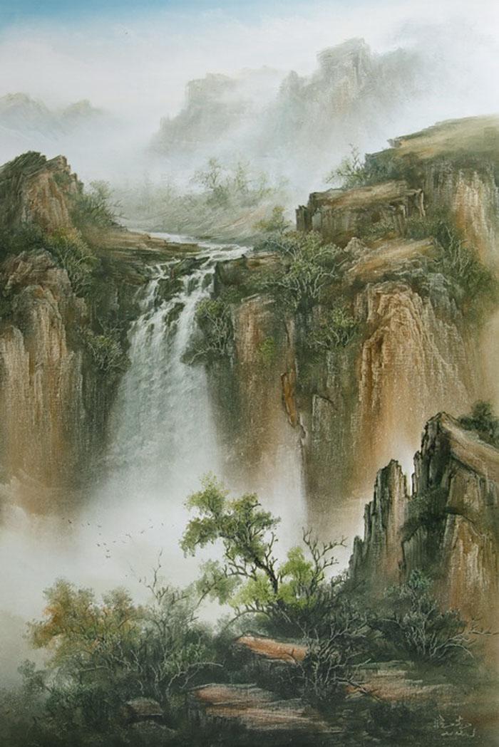Картина Водопад . Холст, масло. 90х60 смАРТ 2101Ким Константин разработал авторскую технику для картин в жанре шань шуй (горы и вода). Вода в движении наиважнейший элемент философии Фен шуй. Водопады очень популярны в Фен шуй, так как они несут с собой энергию воды, а вода является символом богатства и процветания.Гора в Фен шуй является символом равновесия, стабильности и опоры.Картины автора хорошо подходят для интерьеров в стиле шинуазри и в японском минимализме.