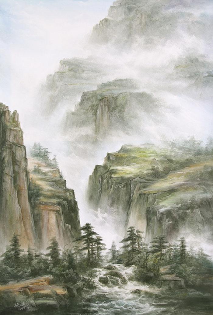 Картина Перекат. Холст, масло. 90х60 смАРТ 2103Ким Константин разработал авторскую технику для картин в жанре шань шуй (горы и вода). Вода в движении наиважнейший элемент философии Фен шуй. Водопады очень популярны в Фен шуй, так как они несут с собой энергию воды, а вода является символом богатства и процветания.Гора в Фен шуй является символом равновесия, стабильности и опоры.Картины автора хорошо подходят для интерьеров в стиле шинуазри и в японском минимализме.