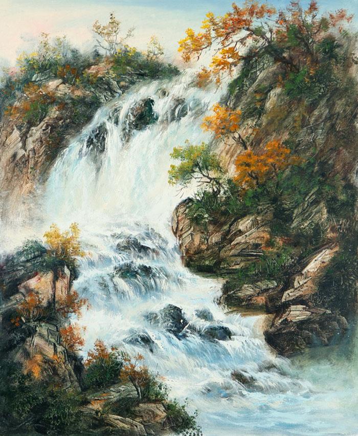 Картина Водопад . Холст, масло. 50х60 смАРТ 2107Ким Константин разработал авторскую технику для картин в жанре шань шуй (горы и вода). Вода в движении наиважнейший элемент философии Фен шуй. Водопады очень популярны в Фен шуй, так как они несут с собой энергию воды, а вода является символом богатства и процветания.Гора в Фен шуй является символом равновесия, стабильности и опоры.Картины автора хорошо подходят для интерьеров в стиле шинуазри и в японском минимализме.