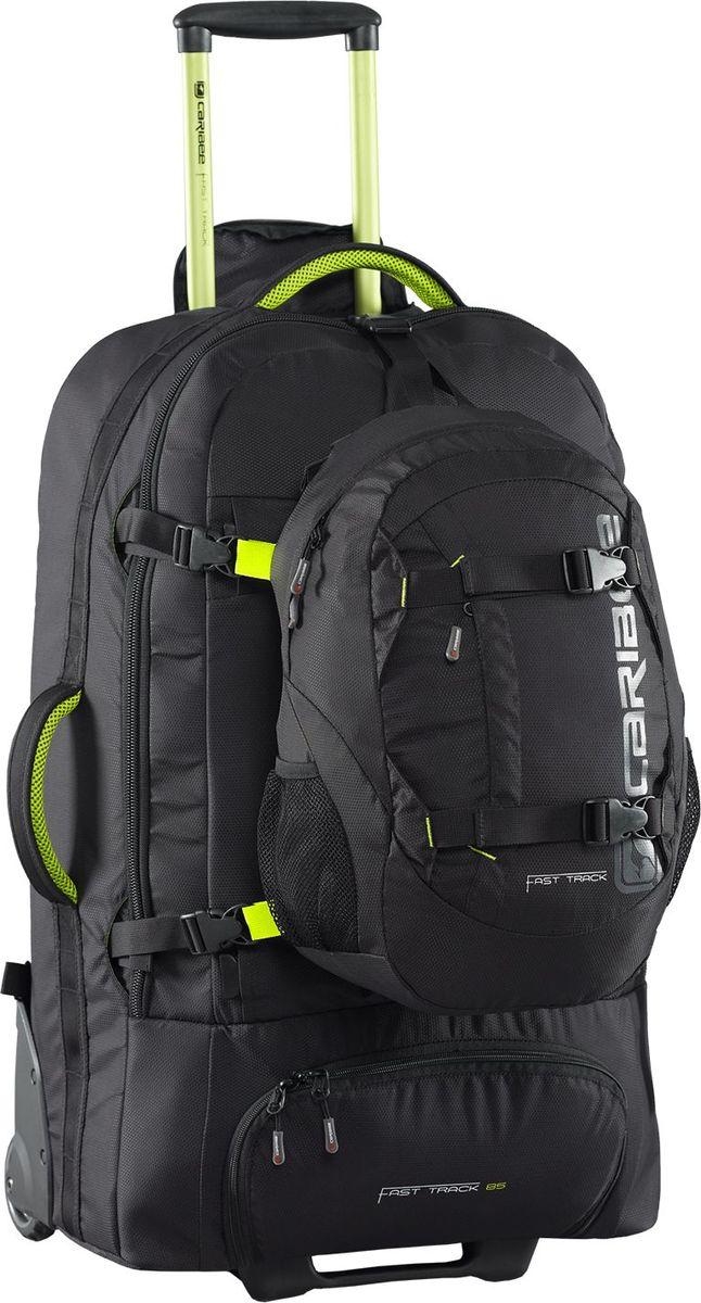 Рюкзак на колесах Caribee Fast Track, цвет: черный, 85 л рюкзак caribee x trek 28 с анатомической спинкой черный оранжевый 28 л 6382