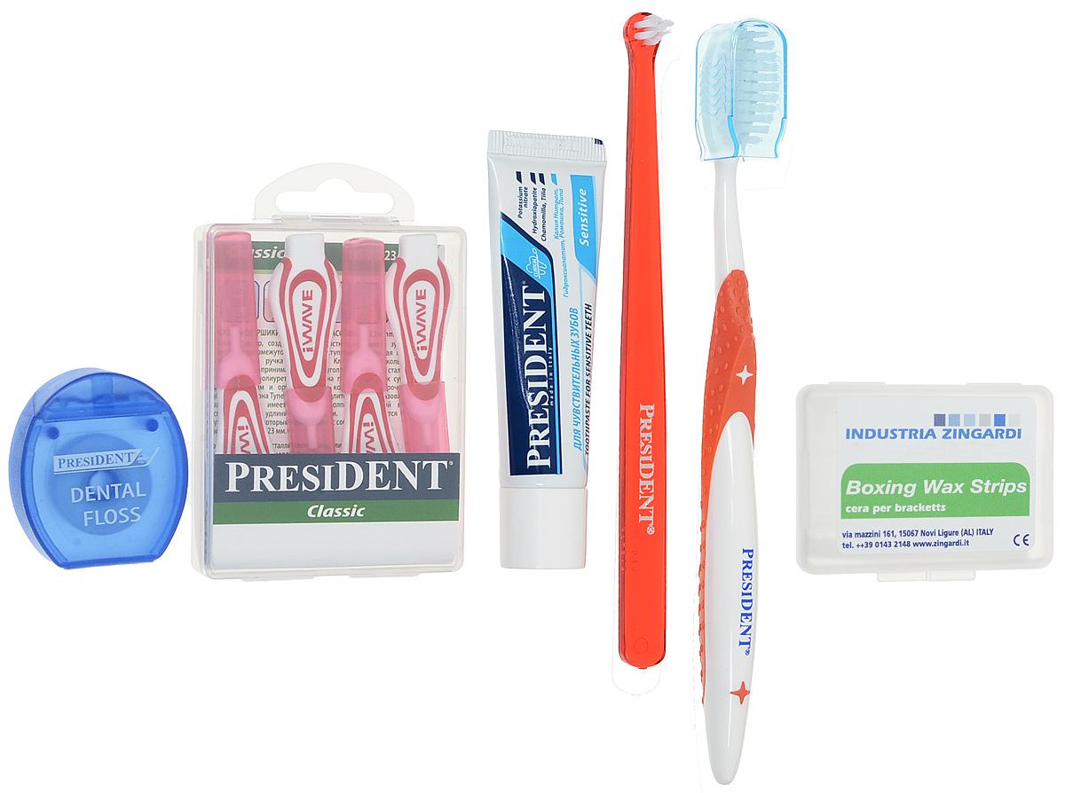 President Брекет-набор, с ортодонтическим воском, цвет щетки: красный - Товары для гигиены