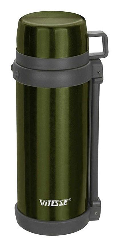Термос Vitesse, цвет: зеленый, 1500 млVS-1412_зеленыйТермос Vitesse изготовлен из высококачественной нержавеющей стали. Изделие имеет широкую горловину и комбинированную пробку для еды и напитков. В комплект входит дополнительная пластиковая чашка. Термос оснащен удобным ремнем для переноски.Можно мыть в посудомоечной машине.Объем: 1,5 л.