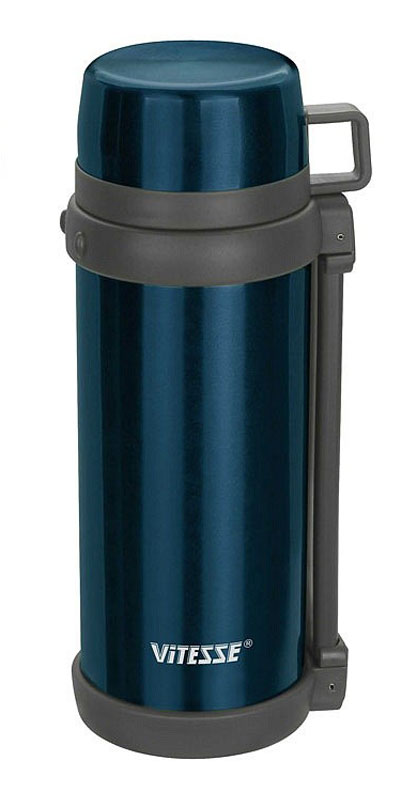 Термос Vitesse, цвет: синий, 1,5 л. VS-1412VS-1412_синийТермос Vitesse изготовлен из высококачественной нержавеющей стали. Изделие имеет широкую горловину и комбинированную пробку для еды и напитков. В комплект входит дополнительная пластиковая чашка. Термос оснащен удобным ремнем для переноски.Можно мыть в посудомоечной машине.