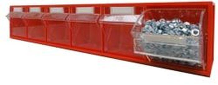 Короб откидной Стелла FOX-102, цвет: красный, прозрачный, 6 ячеек, 60 х 9,4 х 11,2 смFOX-102Короб серии FOX-2 предназначен для хранения мелкоштучных изделий.Габаритные размеры: 600 х 94 х 112 мм. Короб серии FOX-2 представляет собой кассету длиной 600 мм с шестью откидными коробами. Размер откидного короба 86 х 65 х 96/71 мм (Ш х Г х В). Стандартный цвет наружной кассеты – красный, откидной короб – прозрачный.При необходимости прозрачный короб можно извлечь из кассеты. Прозрачный внутренний короб изготовлен из полистирола с добавлением специальных эластичных добавок, что позволяет коробу избежать хрупкости и значительно увеличить несущие нагрузки. Универсальная наружная кассета длиной 600 мм позволяет комбинировать короба серии FOX разных размеров в специальные системы хранения, которые могут быть настольными, настенными, напольными, передвижными и на основе закрытых шкафов.