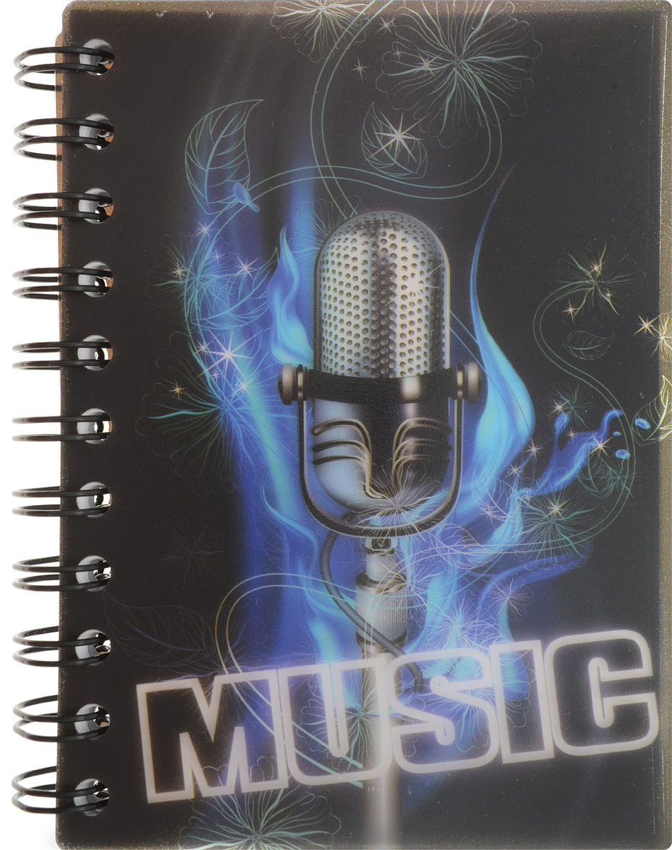 Brauberg Блокнот Music 120 листов в клетку цвет черный синий125382Молодежный блокнот Brauberg Music для записей и заметок с динамичным дизайном. Пластиковая обложка долго сохраняет привлекательный внешний вид и защищает бумагу от повреждений.