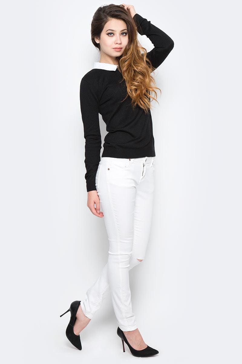 Джемпер женский Sela, цвет: черный. JR-114/2057-7320. Размер M (46)JR-114/2057-7320Оригинальный женский джемпер Sela станет отличным дополнением к гардеробу каждой модницы. Модель прямого кроя с длинными рукавами изготовлена из качественного трикотажа мелкой вязки и дополнена контрастным отложным воротничком. Спинка оформлена вырезом-капелькой. Манжеты рукавов и низ изделия связаны широкой резинкой. Модель подойдет для офиса, прогулок и дружеских встреч, будет отлично сочетаться с джинсами и брюками, а также гармонично смотреться с юбками. Мягкая ткань хорошо тянется и приятна на ощупь.