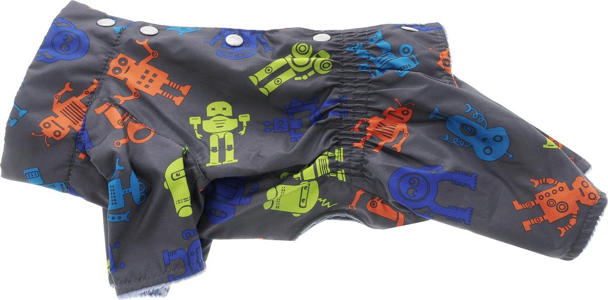 Комбинезон Yoriki Робот, мужской. Размер S453-11Теплый комбинезон для собак Yoriki Робот отлично защитит вашего питомца в холодную погоду от осадков и ветра. Комбинезон изготовлен из водоотталкивающего полиэстера и оформлен оригинальным принтом. Подкладка из искусственного меха сохранит тепло и обеспечит уют во время зимних прогулок.Модель застегивается металлическими кнопками и дополнена утягивающей эластичной резинкой в поясе.Благодаря такому комбинезону вашему питомцу будет комфортно наслаждаться прогулкой.Одежда для собак: нужна ли она и как её выбрать. Статья OZON Гид