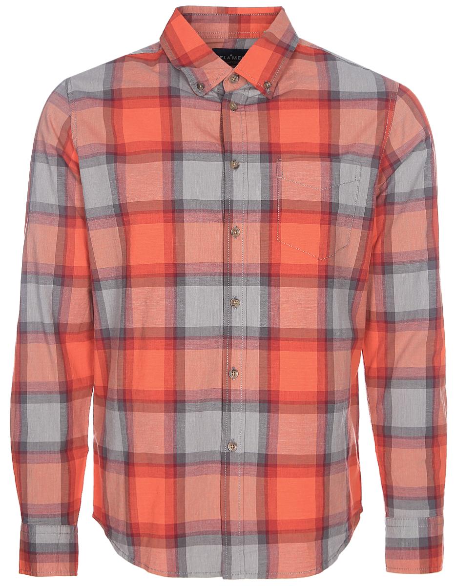Рубашка мужская Sela, цвет: оранжевый. H-212/084-7350. Размер 42 (48)H-212/084-7350Клетчатая мужская рубашка Sela, изготовленная из эластичного хлопка, поможет создать модный образ и станет отличным дополнением к повседневному гардеробу. Модель прямого кроя с отложным воротничком застегивается на пуговицы и дополнена накладным карманом. Манжеты длинных рукавов и воротничок также дополнены пуговицами. Рубашка подойдет для офиса, прогулок или дружеских встреч и будет отлично сочетаться с джинсами и брюками. Мягкая ткань приятна на ощупь и комфортна в носке.