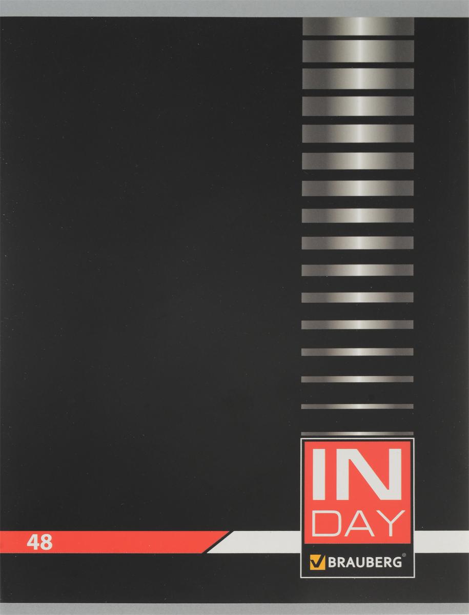 Brauberg Тетрадь In Day 48 листов в клетку цвет черный 400518400518 _черныйОбложка тетради Brauberg In Day выполнена из плотного картона, что позволит сохранить ее в аккуратном состоянии на протяжении всего времени использования.Внутренний блок тетради, соединенный двумя металлическими скрепками, состоит из 48 листов белой бумаги. Стандартная линовка в клетку голубого цвета дополнена полями.