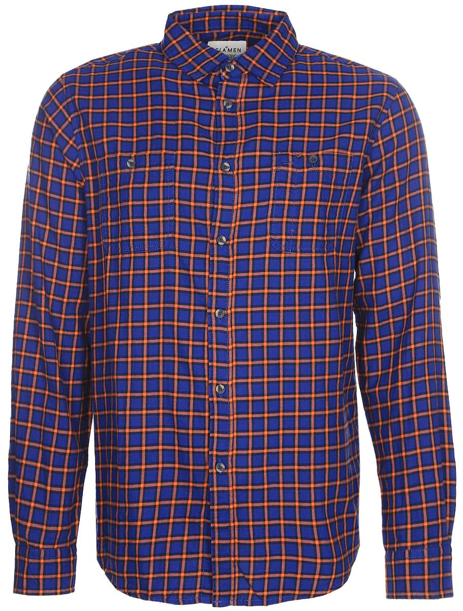 Рубашка мужская Sela, цвет: темно-синий, оранжевый. H-212/083-7350. Размер 42 (48)