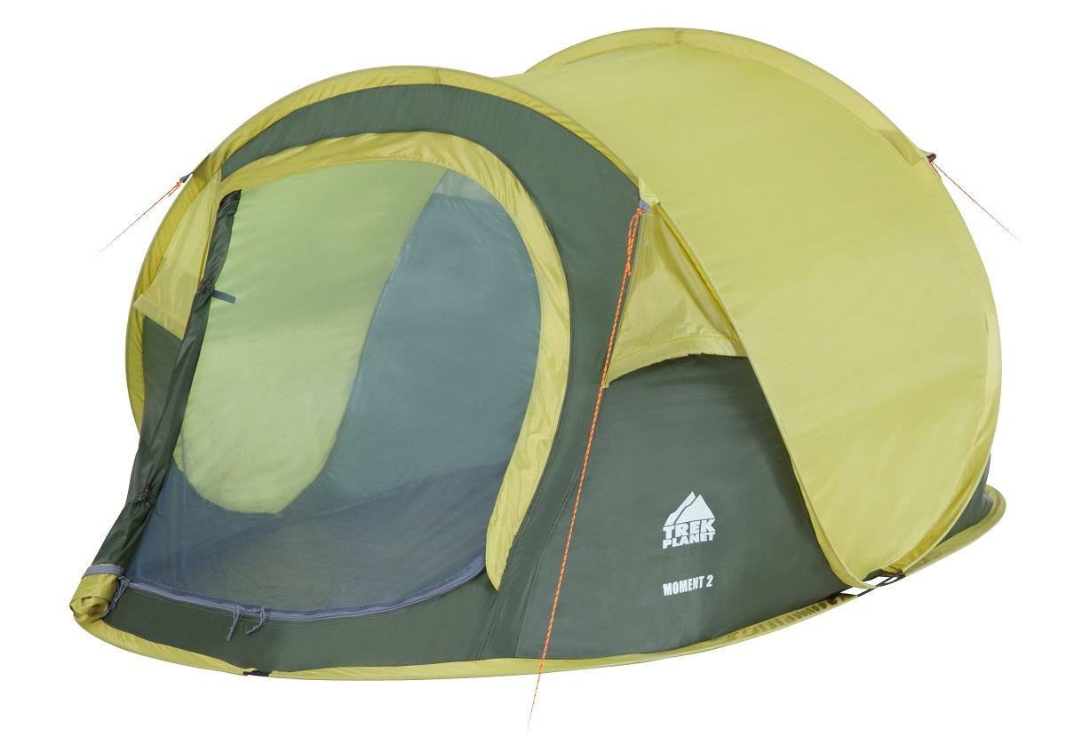 Палатка двухместная Trek Planet Moment 2, цвет: темно-зеленый, светло-зеленый70144Однослойная двухместная палатка Trek Planet Moment 2, мгновенно устанавливается! Особенности модели:Мгновенная установка;Тент палатки из полиэстера, с пропиткой PU водостойкостью 1000 мм, надежно защитит от дождя и ветра;Все швы проклеены;Каркас выполнен из прочного стекловолокна;Дно изготовлено из прочного армированного полиэтилена;Москитная сетка на входе в палатку в полный размер двери;Вентиляционное клапана по периметру палатки не дают скапливаться конденсату на стенках палатки;Внутренние карманы для мелочей;Для удобства транспортировки и хранения предусмотрен чехол с двумя ручками, закрывающийся на застежку-молнию.Размер в сложенном виде: 80 см х 10 см х 10 см.Что взять с собой в поход?. Статья OZON Гид