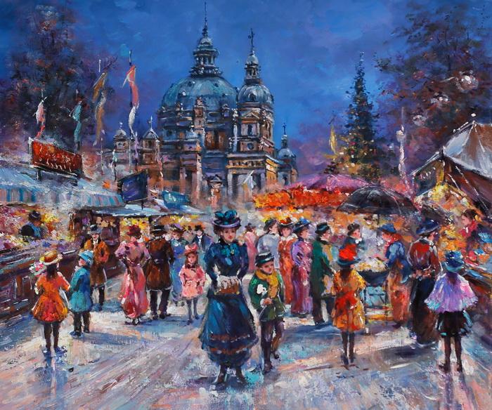 Картина Берлин. Рождественский базар. Холст, масло. 50х60 см пошел козел на базар