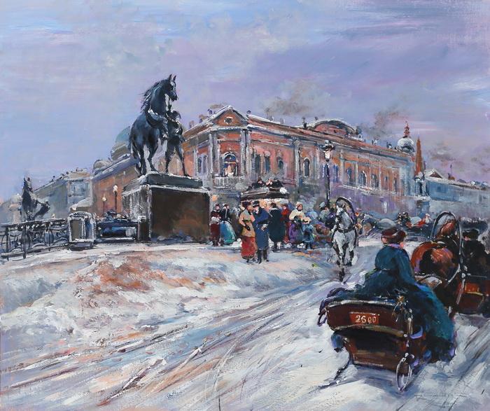 Картина На Аничковом мосту. Холст, масло. 50х60 см вышивка на аничковом мосту