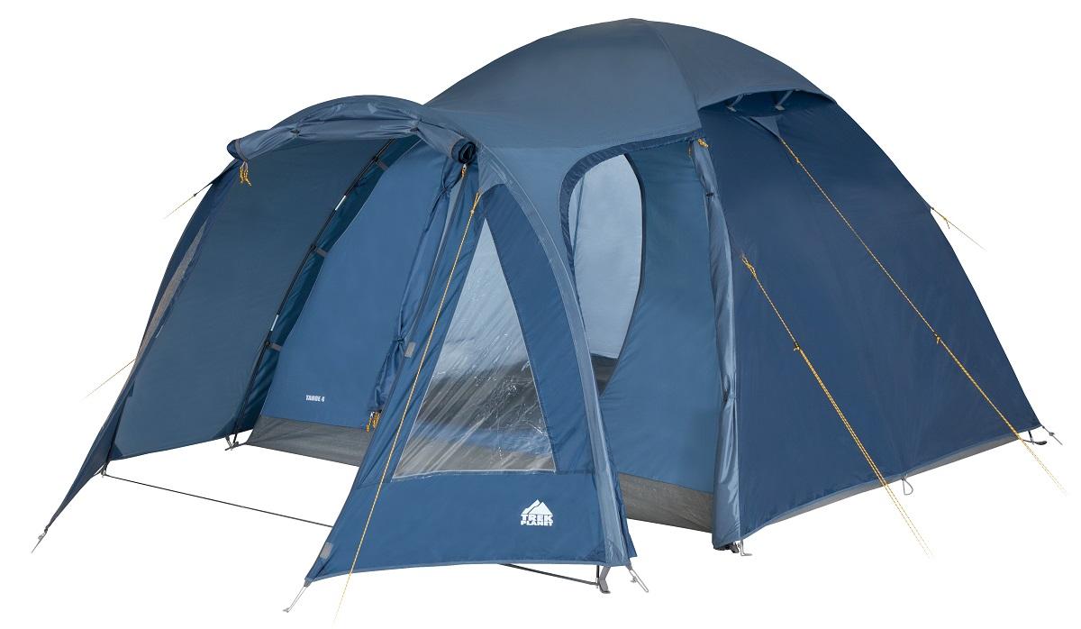 Палатка четырехместная TREK PLANET Tahoe 4, цвет: синий70188Четырехместная двухслойная кемпинговая высокая палатка TREK PLANET Tahoe 4 с хорошей вентиляцией и большим и светлым тамбуром, хорошо подойдет для кемпинга выходного дня или отдыха на природе с семьей.Особенности модели:- Простая и быстрая установка;- Тент палатки из полиэстера, с пропиткой PU водостойкостью 3000 мм, надежно защитит от дождя и ветра; - Все швы проклеены;- Просторный и высокий тамбур с двумя входами;- Большие обзорные окна со шторками в тамбуре;- Два больших вентиляционных окна;- Каркас выполнен из прочного стеклопластика;- Дно изготовлено из прочного армированного полиэтилена;- Внутренняя палатка, выполненная из дышащего полиэстера, обеспечивает вентиляцию помещения и позволяет конденсату испаряться, не проникая внутрь палатки;- Удобная D-образная дверь на входе во внутреннюю палатку;- Москитная сетка на входе в спальное отделение в полный размер двери;- Внутренние карманы для мелочей;- Возможность подвески фонаря в палатке.Палатка упакована в сумку-чехол с ручками, застегивающуюся на застежку-молнию.