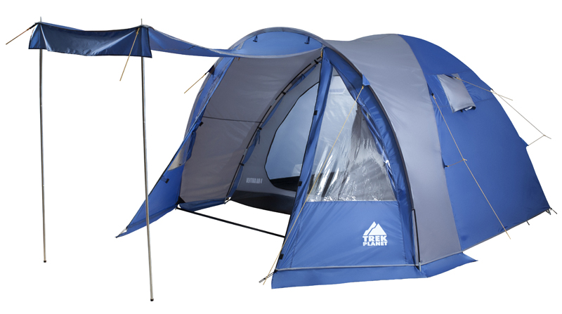 Палатка четырехместная TREK PLANET Ventura Air 4, цвет: синий, серый70230Двухслойная четырехместная классическая палатка TREK PLANETVentura Air 4 с вместительным светлым тамбуром, обзорными окнами и двумя входами в палатку с противоположных сторон.Особенности:Тент палатки из полиэстера с пропиткой PU надежно защищает от дождя и ветра,Все швы проклеены,Высокий, вместительный и светлый тамбур,Обзорное окно со шторкой в тамбуре,Дно из прочного водонепроницаемого армированного полиэтилена позволяет устанавливать палатку на жесткой траве, песчаной поверхности, глине,Дуги из прочного стеклопластика,Внутренняя палатка из дышащего полиэстера, обеспечивает вентиляцию помещения и позволяет конденсату испаряться, не проникая внутрь палатки,Съемная разделительная перегородка в спальном отделении (2+2),Два входа во внутреннюю палатку с противоположных сторон тента,Вентиляционные окна в спальном отделении,Два раздельных D-образных входа во внутреннюю палатку со стороны тамбура,Москитная сетка на каждой двери во внутреннюю палатку в полный размер двери,Внутренние карманы для мелочей во внутренней палатке,Возможность подвески фонаря в палатке,Для удобства транспортировки и хранения предусмотрен чехол из прочного полиэстера OXFORD, с двумя ручками и закрывающийся на застежку-молнию.
