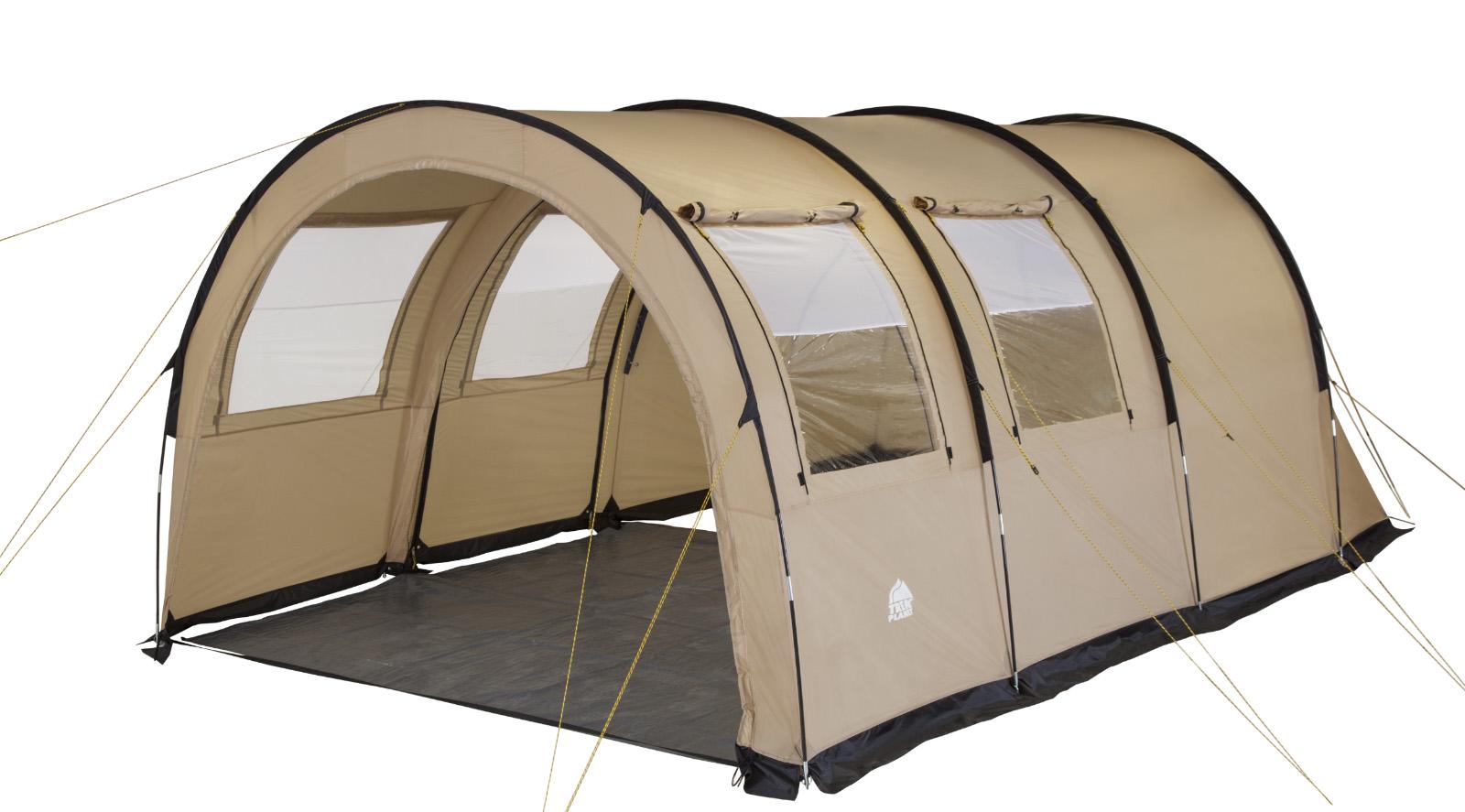 """Пятиместная двухслойная семейная палатка в форме полубочки TREK PLANET """"Vario 5"""" с отличной вентиляцией и огромным помещением, позволяющим с комфортом расположиться внутри всей семьей или небольшой компании отдыхающих  - отличный выбор для семейного кемпинга и отдыха на природе.Особенности модели:- Размер спальной комнаты: 240 см х 350 см х 210 см;- Тент палатки из полиэстера с пропиткой PU надежно защищает от дождя и ветра;- Все швы проклеены;- Большое и высокое внутреннее помещение, где свободно размещается кемпинговый стол и стулья на 4-5 человек;- Съемный пол в тамбуре из армированного полиэтилена;- Передняя стенка палатки может быть перестегнута на вторую секцию дуг, образуя козырек перед палаткой, а также может быть снята совсем;- Четыре обзорных окна со шторкой во внутреннем помещении, совмещенные с вентиляционными окнами.- Защитная юбка из армированного полиэтилена по периметру внутреннего помещения;- Большой выносной козырек на металлических стойках;- Дуги из прочного стеклопластика;- Дно из прочного водонепроницаемого армированного полиэтилена позволяет устанавливать палатку на жесткой траве, песчаной поверхности, глине и т.д.;- Внутренняя палатка из """"дышащего"""" полиэстера, обеспечивают вентиляцию помещения и позволяют конденсату испаряться, не проникая внутрь палатки;- Трехпозиционные вентиляционные окна в спальных отделениях (закрыто, частично открыто, полностью открыто);- Разделительная перегородка в спальном отделении;- Раздельный вход в каждое спальное отделение;- Москитные сетки на на каждом входе во внутреннюю палатку в полный размер двери;- Внутренние карманы для мелочей;- Удобный органайзер между D-образными дверьми в спальное отделение;- Возможность подвески фонаря в палатке.Для удобства транспортировки и хранения предусмотрен чехол из прочного полиэстера OXFORD, с двумя ручками и закрывающийся на застежку-молнию."""