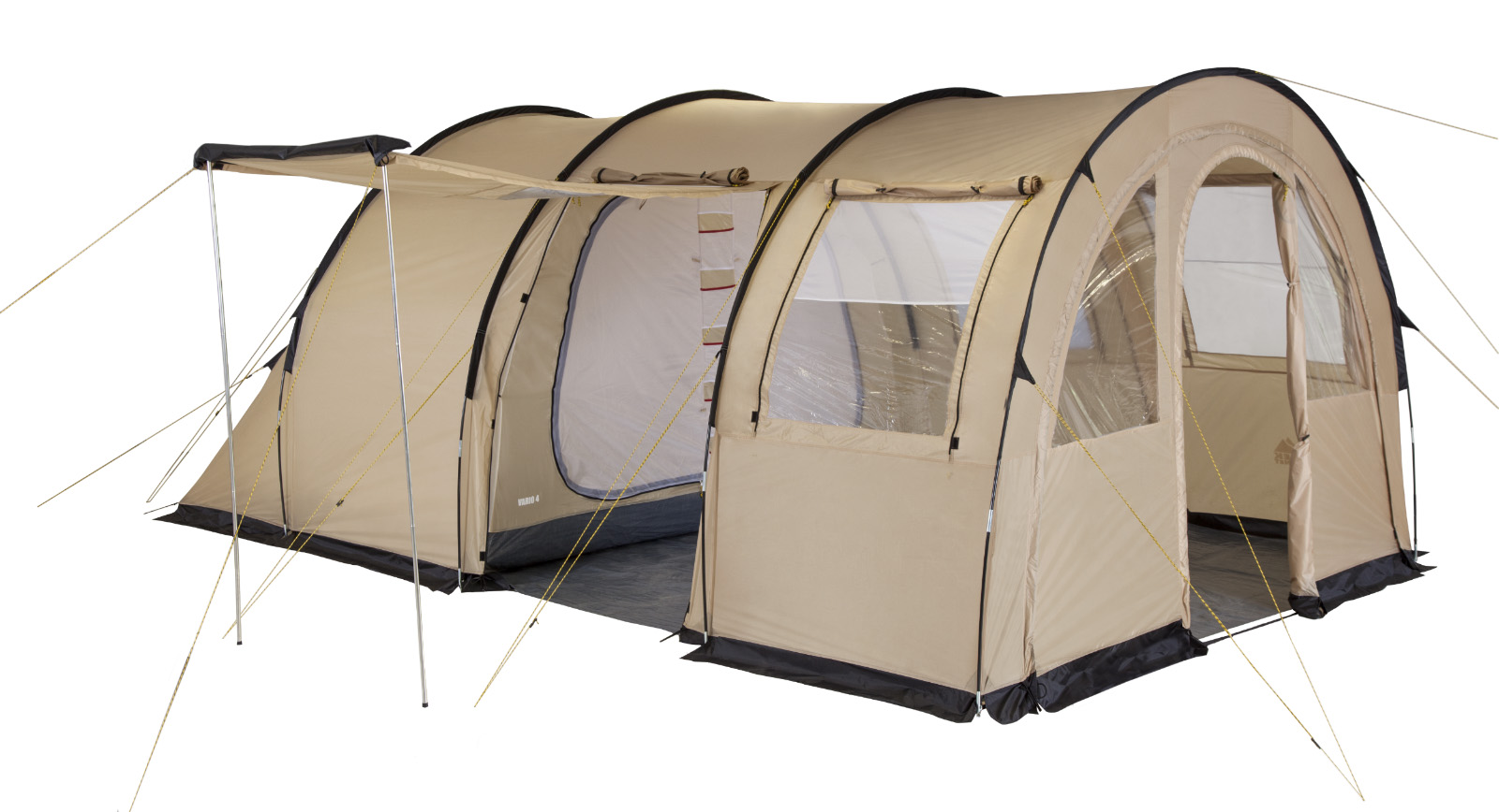 Палатка пятиместная TREK PLANET Vario 5, цвет: песочный70248Пятиместная двухслойная семейная палатка в форме полубочки TREK PLANET Vario 5 с отличной вентиляцией и огромным помещением, позволяющим с комфортом расположиться внутри всей семьей или небольшой компании отдыхающих- отличный выбор для семейного кемпинга и отдыха на природе.Особенности модели:- Размер спальной комнаты: 240 см х 350 см х 210 см;- Тент палатки из полиэстера с пропиткой PU надежно защищает от дождя и ветра;- Все швы проклеены;- Большое и высокое внутреннее помещение, где свободно размещается кемпинговый стол и стулья на 4-5 человек;- Съемный пол в тамбуре из армированного полиэтилена;- Передняя стенка палатки может быть перестегнута на вторую секцию дуг, образуя козырек перед палаткой, а также может быть снята совсем;- Четыре обзорных окна со шторкой во внутреннем помещении, совмещенные с вентиляционными окнами.- Защитная юбка из армированного полиэтилена по периметру внутреннего помещения;- Большой выносной козырек на металлических стойках;- Дуги из прочного стеклопластика;- Дно из прочного водонепроницаемого армированного полиэтилена позволяет устанавливать палатку на жесткой траве, песчаной поверхности, глине и т.д.;- Внутренняя палатка из дышащего полиэстера, обеспечивают вентиляцию помещения и позволяют конденсату испаряться, не проникая внутрь палатки;- Трехпозиционные вентиляционные окна в спальных отделениях (закрыто, частично открыто, полностью открыто);- Разделительная перегородка в спальном отделении;- Раздельный вход в каждое спальное отделение;- Москитные сетки на на каждом входе во внутреннюю палатку в полный размер двери;- Внутренние карманы для мелочей;- Удобный органайзер между D-образными дверьми в спальное отделение;- Возможность подвески фонаря в палатке.Для удобства транспортировки и хранения предусмотрен чехол из прочного полиэстера OXFORD, с двумя ручками и закрывающийся на застежку-молнию.