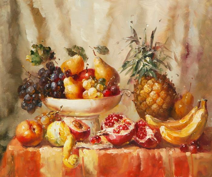 Картина Натюрморт с ананасом. Холст, масло. 50х60 см