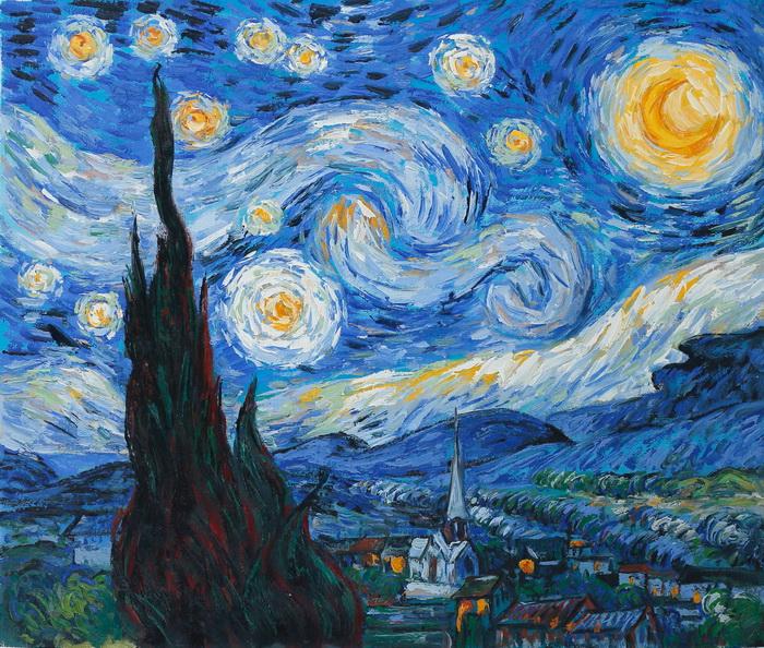 Картина Звездная ночь. Холст, масло. 60х50 смАРТ 4207Копия картины Винсента Ван Гога маслом на холсте. Размер 50 х 60 см. На подрамнике.Картина продается без рамы, холст натянут на профессиональный (модульный) подрамник.Советы по оформлению картин в багет:Рама и картина должны взаимно дополнять друг друга и не должны соперничать между собой.При оформлении всегда доминирует картина, а раме отводится лишь роль связующего звена между картиной и интерьером.Багет должен сочетаться с картиной по цветовой гамме.Учитывайте глубину багета - если вы не хотите, чтобы был виден подрамник, на который натянута картина, то необходимо выбрать багет с глубиной от 1,5 см.Не бойтесь экспериментировать, используйте составную раму из двух и более разных профилей багета. Все багетные профили в составной раме должны быть разной ширины!