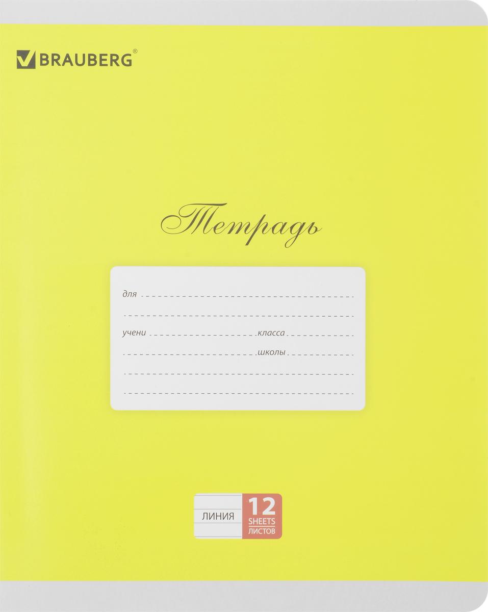 Brauberg Тетрадь Классика 12 листов в линейку цвет желтый103274 _желтыйТетрадь Brauberg Классика подойдет как школьнику, так и студенту. Обложка тетради с закругленными углами выполнена из плотного картона, что позволит сохранить ее в аккуратном состоянии на протяжении всего времени использования. На задней обложке находится русский алфавит.Внутренний блок тетради, соединенный двумя металлическими скрепками, состоит из 12 листов белой бумаги. Стандартная линовка в линейку голубого цвета дополнена полями.