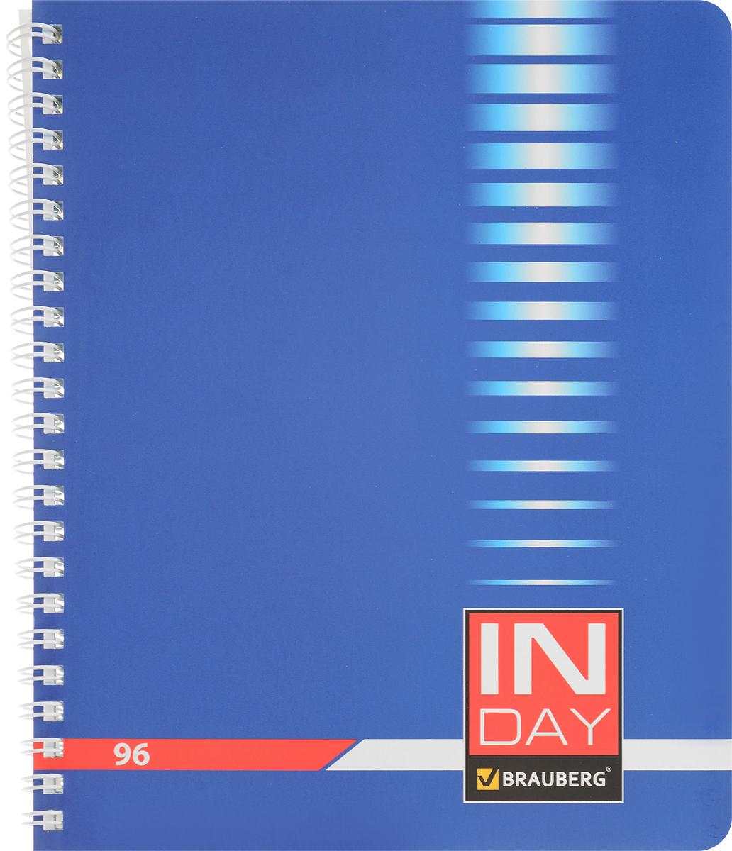 Brauberg Тетрадь In Day 96 листов в клетку цвет синий 400526400526_синийТетрадь Brauberg In Day на металлическом гребне пригодится как школьнику, так и студенту.Такое практичное и надежное крепление позволяет отрывать листы и полностью открывать тетрадь на столе. Обложка изготовлена из импортного мелованного картона. Внутренний блок выполнен из высококачественного офсета в стандартную клетку без полей. Тетрадь содержит 96 листов. Страницы тетради дополнены микроперфорацией для удобного отрыва листов.