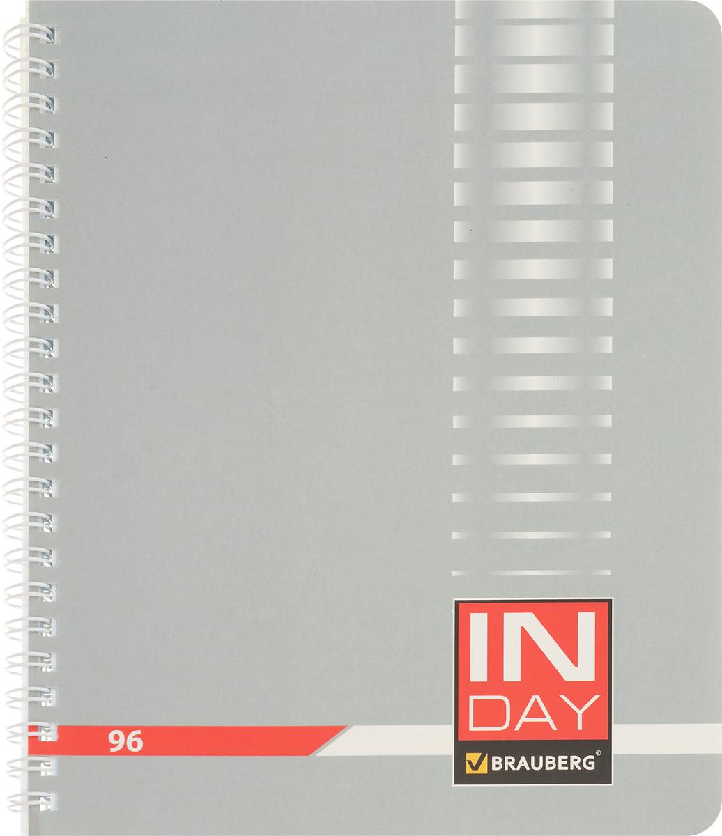 Brauberg Тетрадь In Day 96 листов в клетку цвет серый 400526400526_серыйТетрадь Brauberg In Day на металлическом гребне пригодится как школьнику, так и студенту.Такое практичное и надежное крепление позволяет отрывать листы и полностью открывать тетрадь на столе. Обложка изготовлена из импортного мелованного картона. Внутренний блок выполнен из высококачественного офсета в стандартную клетку без полей. Тетрадь содержит 96 листов. Страницы тетради дополнены микроперфорацией для удобного отрыва листов.