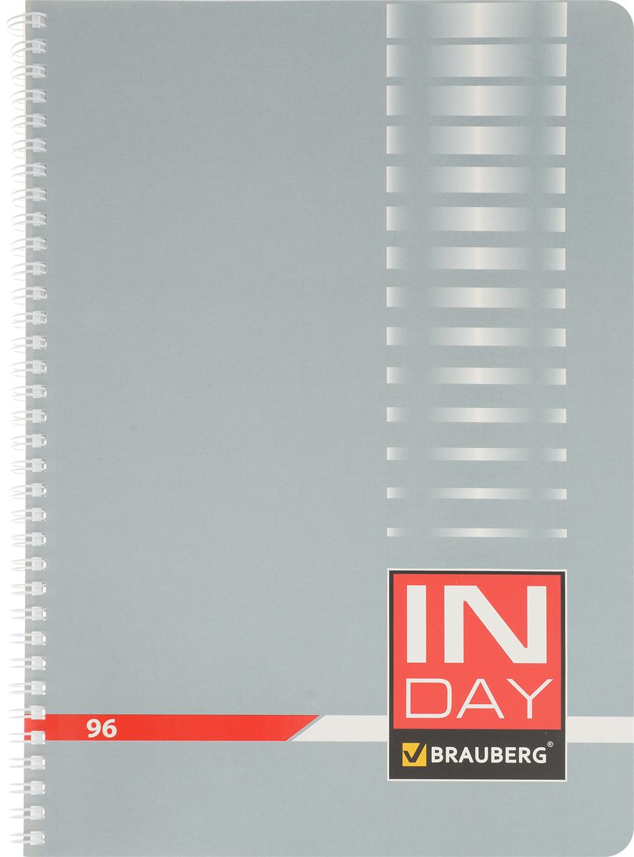 Brauberg Тетрадь In Day 96 листов в клетку цвет серый400528_серыйТетрадь Brauberg In Day подойдет как школьнику, так и студенту. Обложка тетради с закругленными углами выполнена из плотного картона, что позволит сохранить ее в аккуратном состоянии на протяжении всего времени использования.Внутренний блок тетради, соединенный металлическим гребнем, состоит из 96 листов белой бумаги. Стандартная линовка в клетку голубого цвета без полей. Страницы тетради дополнены микроперфорацией для удобного отрыва и отверстиями для колец.