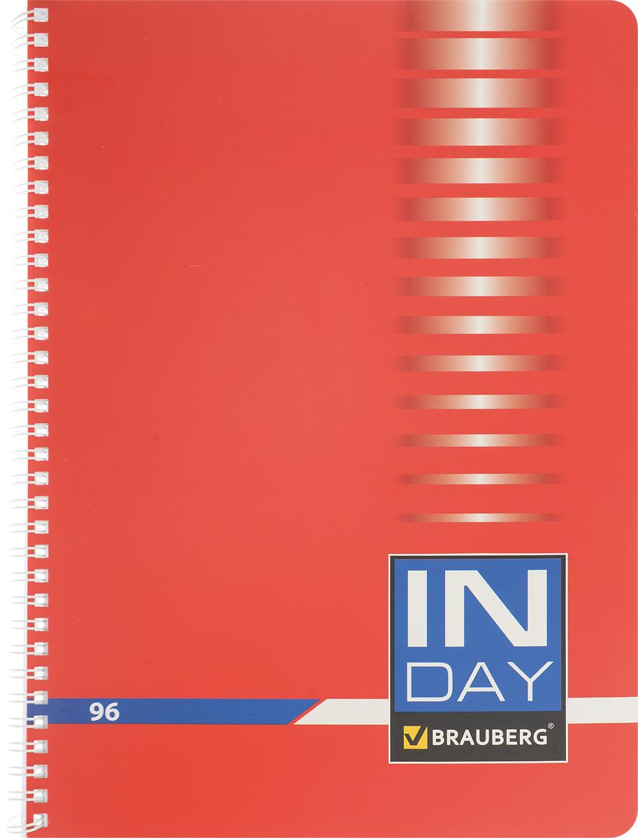 Brauberg Тетрадь In Day 96 листов в клетку цвет красный400528_красныйТетрадь Brauberg In Day подойдет как школьнику, так и студенту. Обложка тетради с закругленными углами выполнена из плотного картона, что позволит сохранить ее в аккуратном состоянии на протяжении всего времени использования.Внутренний блок тетради, соединенный металлическим гребнем, состоит из 96 листов белой бумаги. Стандартная линовка в клетку голубого цвета без полей. Страницы тетради дополнены микроперфорацией для удобного отрыва и отверстиями для колец.