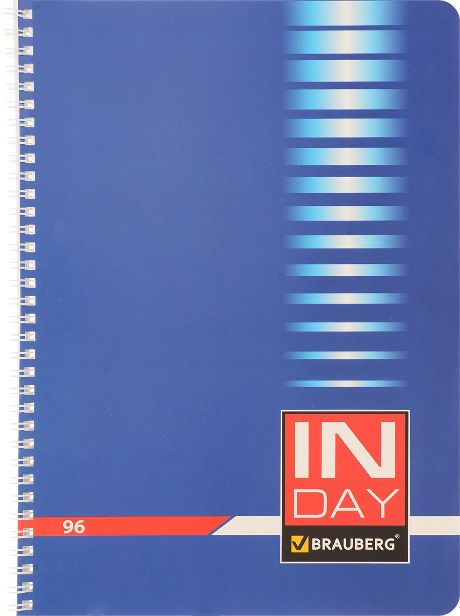 Brauberg Тетрадь In Day 96 листов в клетку цвет синий400528_синийТетрадь Brauberg In Day подойдет как школьнику, так и студенту. Обложка тетради с закругленными углами выполнена из плотного картона, что позволит сохранить ее в аккуратном состоянии на протяжении всего времени использования.Внутренний блок тетради, соединенный металлическим гребнем, состоит из 96 листов белой бумаги. Стандартная линовка в клетку голубого цвета без полей. Страницы тетради дополнены микроперфорацией для удобного отрыва и отверстиями для колец.
