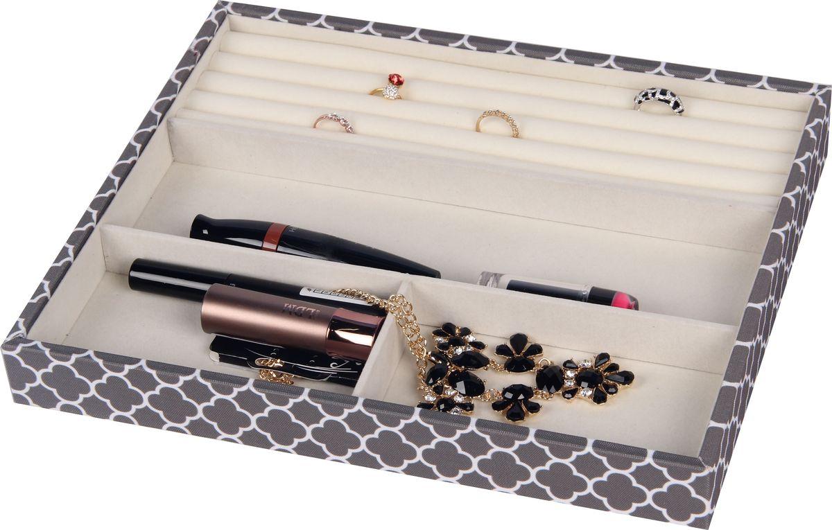 Органайзер для бижутерии и мелочей Hausmann, 3 отделения, 31,5 х 26 х 3,8 смHM-SO02132DОрганайзер с 3-мя отделениями и секцией для колец: внешняя отделка - холст принтованный, внутренняя сторона - флок, каркас - МДФ. Назначение - хранение бижутерии и мелочей.