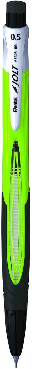 Pentel Карандаш механический цвет корпуса салатовыйAS305-KXКомфортный и надежный карандаш Pentel с системой подачи грифеля Shake. Чтобы выдвинуть грифель, нужно несколько раз встряхнуть карандаш. Карандаш имеет прочный корпус из пластика.В комплект входит 2 грифеля.